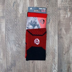 Adidas D Rose Black & Red Crew Socks